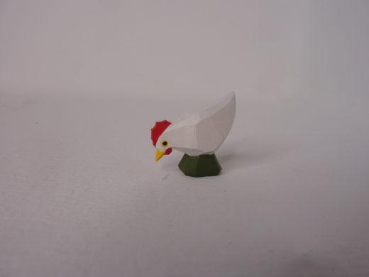 Huhn weiß pickend von Lotte Sievers-Hahn